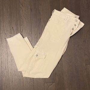 Free People Off White Jean w/ Side Pocket Details